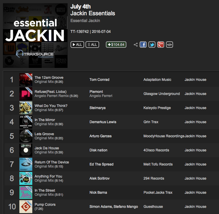 Tom Conrad 'The 12am Groove' listed as #1 Essential Jackin track on Traxsource